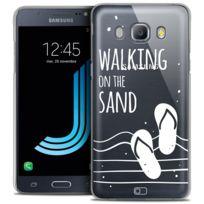 Caseink - Coque Housse Etui Samsung Galaxy J5 2016 J510, Crystal Hd Collection Summer Design Walking on the Sand - Rigide - Ultra Fin - Imprimé en France