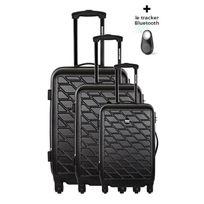 Bag Stone - Bagstone Set de 3 Valises Rigide Abs 4 Roues 50-60-70 cm Eden Noir avec un tracker Bluetooth Offert