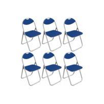 Declikdeco - Lot de 6 Chaises pliantes bleues Ipag
