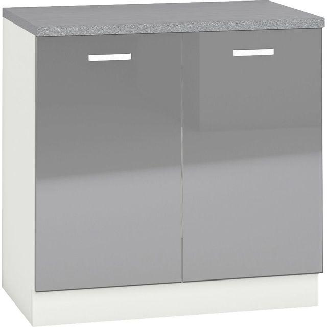 Comforium Meuble bas de cuisine design 80 cm avec 2 portes coloris blanc mat et gris laqué