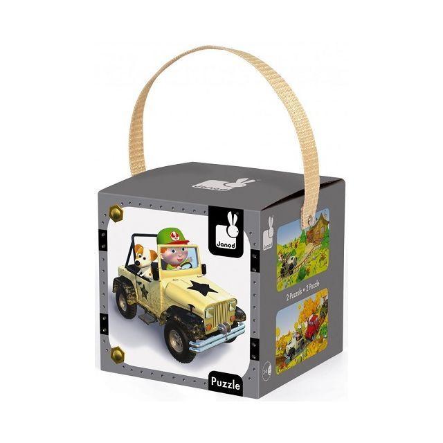 Janod Coffret De 2 Puzzles Progressifs Jack Et Sa Jeep 24 - 36 Pieces