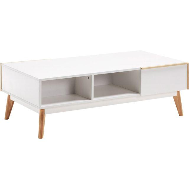 Comforium Table Basse Design Scandinave En Mdf Laqué Mat Avec