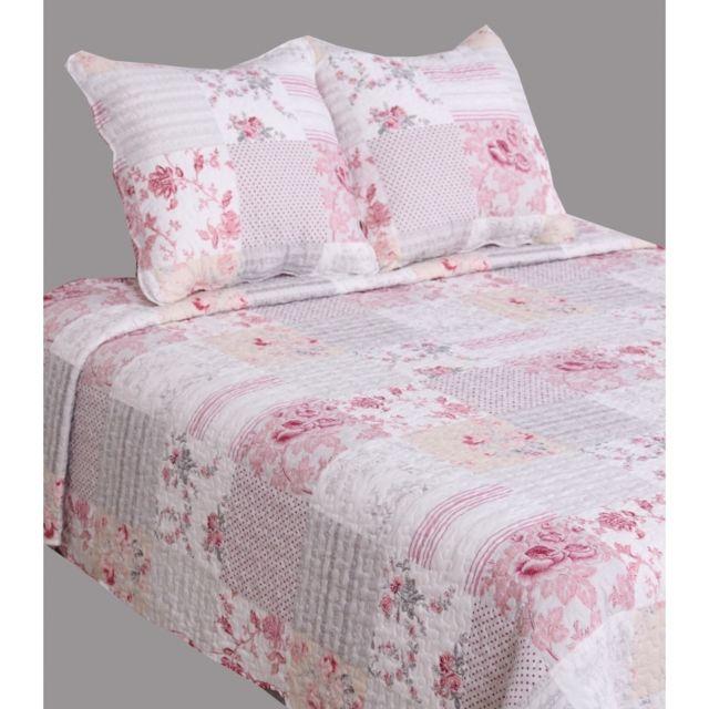 univers decor couvre lit boutis 230 x 250 cm pour lit 2 places fleurs roses - Couvre Lit Boutis