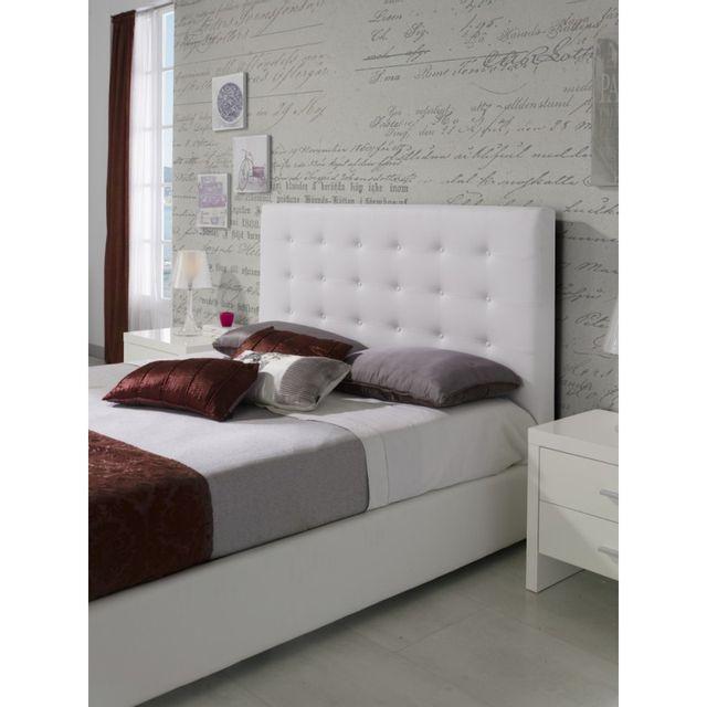 ma maison mes tendances t te de lit pour lit 160 cm en simili cuir blanc granti l 172 x h. Black Bedroom Furniture Sets. Home Design Ideas