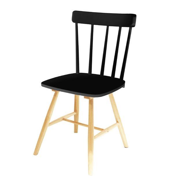 the concept factory chaise bistrot en bois noir pas. Black Bedroom Furniture Sets. Home Design Ideas