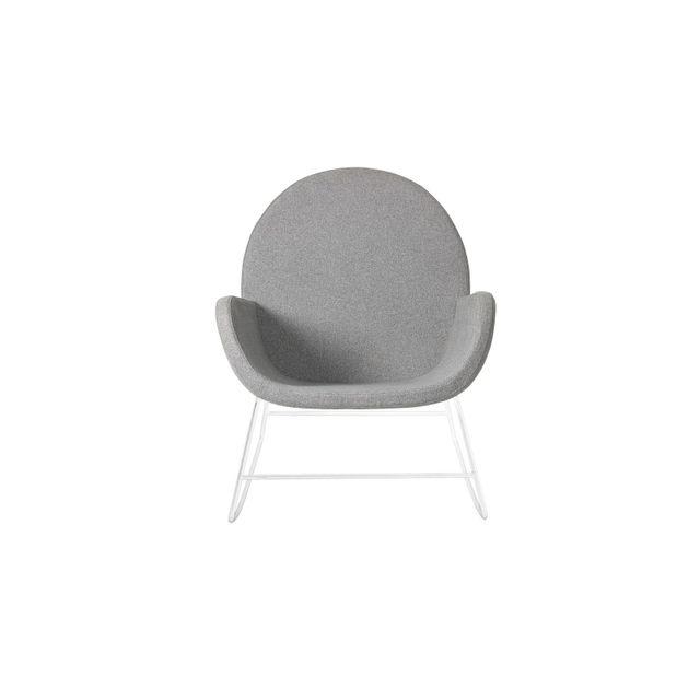 BLOOMINGVILLE Fauteuil en polyester gris et pied blancs Collection Liva