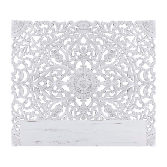 menzzo  tête de lit serena 160cm bois blanc  pas cher