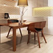 sans marque lot de 2 chaises accoudoirs confortable salle manger brun