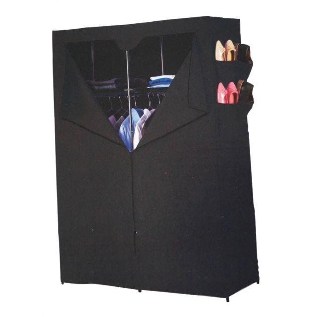 armoire de rangement 2 tag res et penderie noir pas. Black Bedroom Furniture Sets. Home Design Ideas
