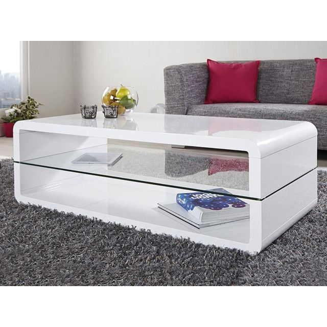 Sofamobili Table basse design blanc laqué Lorene 2