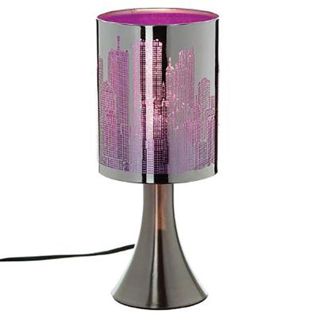 Lampe New York Violette Noire   Cylindrique Métal Tactile 3 Intensités  Déco