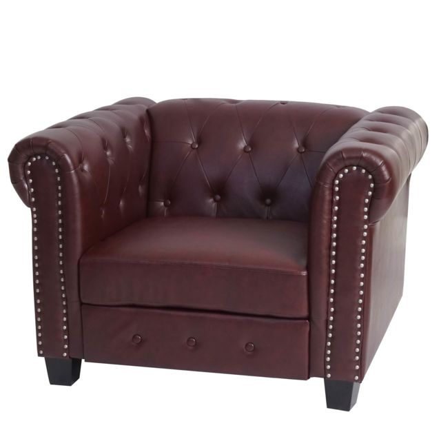 Mendler Fauteuil de luxe Chesterfield, fauteuil longue, similicuir ~ pieds angulaires, brun rouge