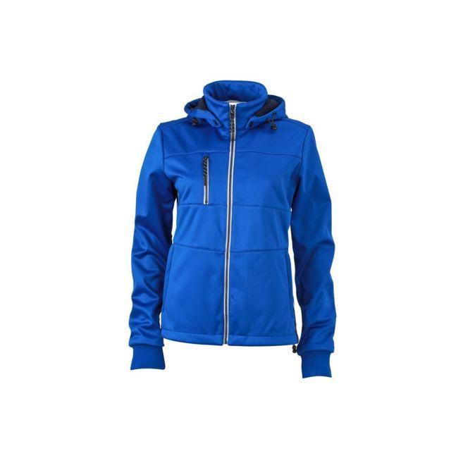 James & Nicholson Veste softshell à capuche- femme Jn1077 - bleu nautique - coupe-vent et imperméable