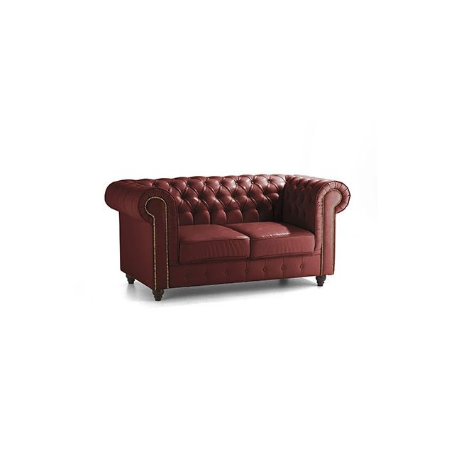 Canapé Chesterfield 2 places en cuir rouge