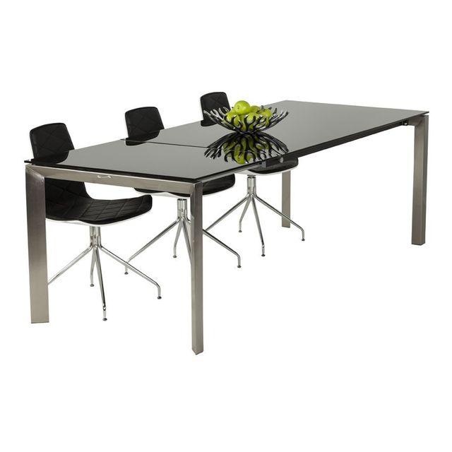 Alterego Table à dîner extensible 'GLAGLA' noire en verre - 160 230, x90 cm