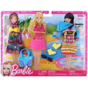 barbie mattel poupee tenues plage coffret de 3 habits pas cher achat vente poup es. Black Bedroom Furniture Sets. Home Design Ideas
