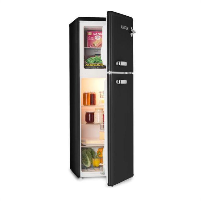 KLARSTEIN Audrey Combiné réfrigérateur 97L congélateur 39L A+ look rétro noir