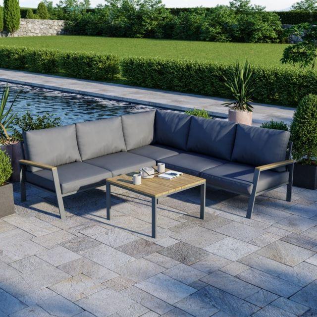 Avril Paris Salon de jardin design aluminium bois- Gris - intérieur/extérieur - Doma