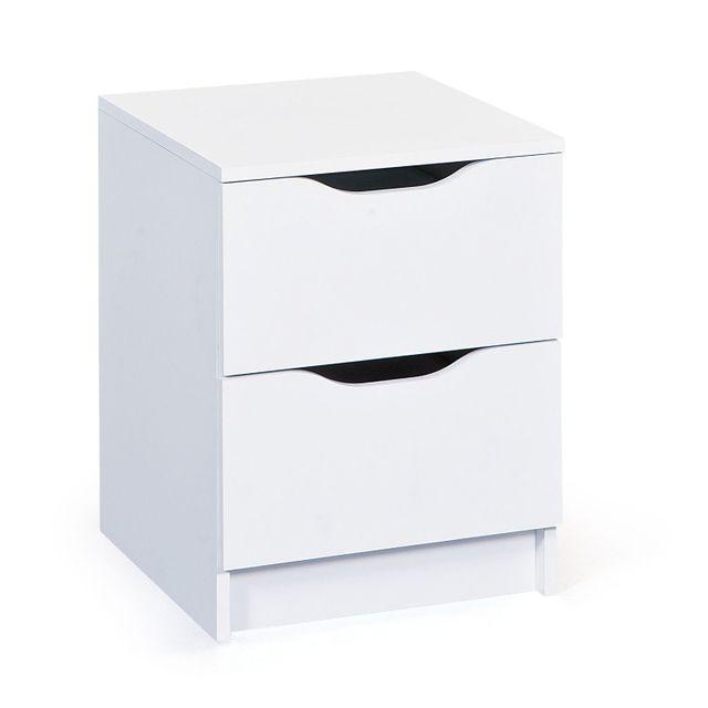 Comforium Petite commode de rangement 40 cm avec 2 tiroirs coloris blanc