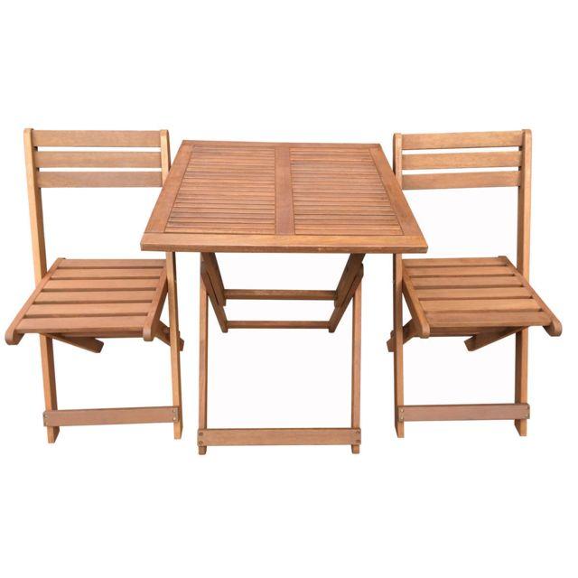 HABITAT ET JARDIN Salon de jardin en bois exotique Hanoï - Maple - Marron clair - Table pliante carrée 60 x 60 x 74 cm + 2 chaises pliante