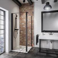 Portes de douche battantes, 80 x 192 cm, avec paroi latérale, verre  transparent 6f538449e33