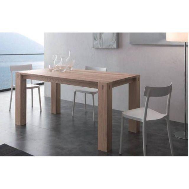 Inside 75 Table repas extensible Factory en frêne massif 90 x 160 cm
