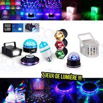 Mydj - 7 Jeux lumière Ovni + Strobe + Ampoule Rvb + Chenillard + Dôme Disco + Derby + SunMagic
