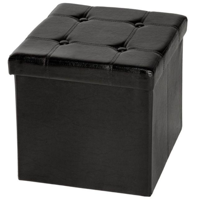 helloshop26 pouf coffre pliant pliable de rangement 38x38 cm salon salle manger noir 2008069. Black Bedroom Furniture Sets. Home Design Ideas