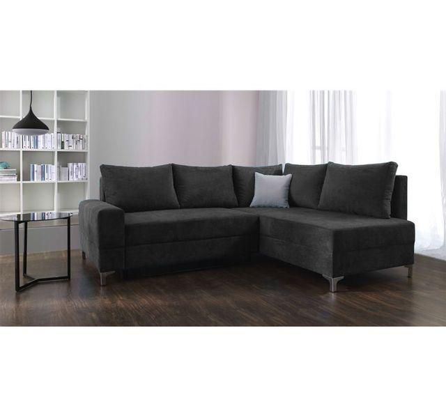 Canapé d'angle convertible Laonne - Angle droit - noir