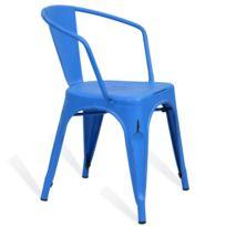Novara Mobili - Chaise en métal Lix Style Vintage Bleu Sky avec accoudoir