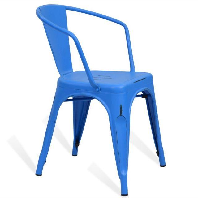 Style Bleu Lix Métal En Avec Chaise Mobili Vintage Sky Novara AL4Rj5