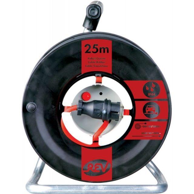 devidoir bobine fil electrique Marque Generique - Dévidoir de cable électrique H07RN-F3G 25 m, noir-rouge