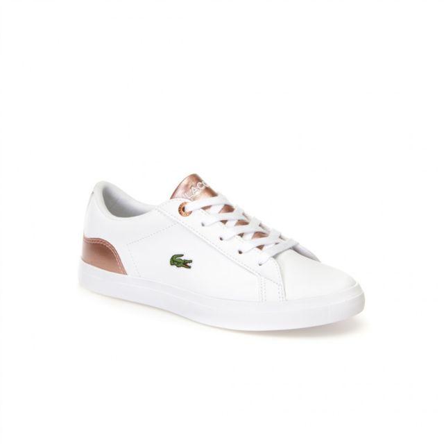332e0d792e4 Lacoste - lerond blanc-rose - pas cher Achat   Vente Baskets homme -  RueDuCommerce