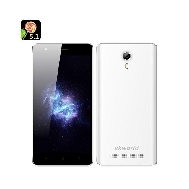 Auto-hightech Téléphone Smartphone double sim Android 5.1 écran 4.5 pouces Cpu Quad Core Mtk6580 Bluetooth 4.0 Blanc