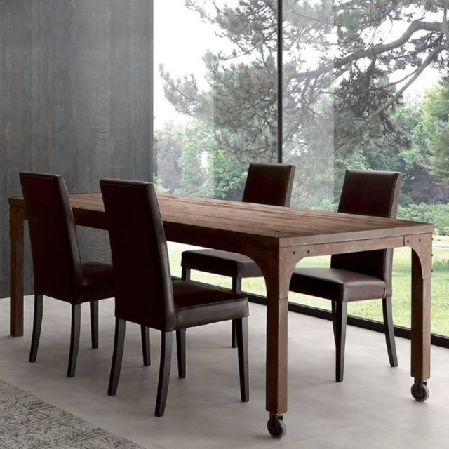 inside 75 table repas industrial vintage 180cm en sapin vieilli pas cher achat vente. Black Bedroom Furniture Sets. Home Design Ideas