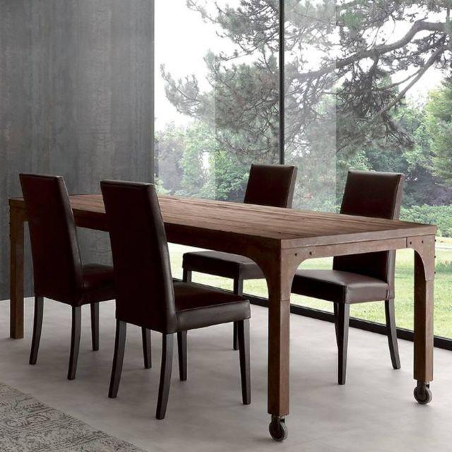 Inside 75 Table repas Industrial Vintage 160cm en sapin vieilli