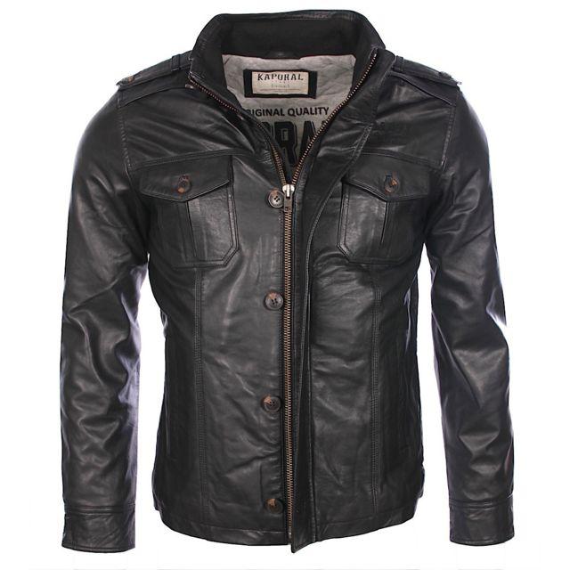 la meilleure attitude 004f3 5668c Kaporal 5 - Kaporal - Homme - Veste en cuir Tomy noire - pas ...