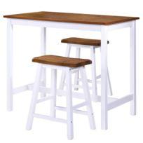 nouveau concept 2aa6b 646f9 Icaverne - Ensembles de meubles de cuisine et de salle à manger serie Table  de bar et tabouret 3 pcs Bois massif