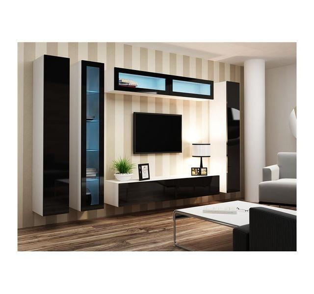 CHLOE DESIGN Ensemble Meuble tv design RIMO - blanc et noir