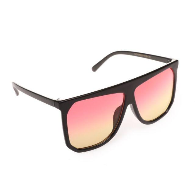9693e707dfa236 Lamodeuse - Lunettes de soleil oversize noires verres teintés rose et jaune