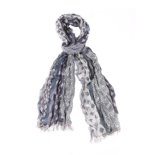 Pepe Jeans - Chèche Foley en coton bleu indigo et blanc à motifs fantaisies  - pas cher Achat   Vente Echarpes, foulards - RueDuCommerce 38fea953a84