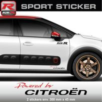 Run-R Stickers - Pw03 Rn - Sticker Powered by Citroen - Rouge Noir - pour C1 C2 C3 Ds3 C4 Ds4 Saxo aufkleber adesivi - Adnauto