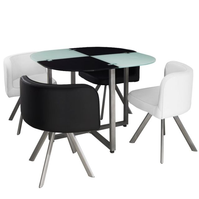 Giovanni Ensemble Table de repas avec 4 chaises Design Malaga Noir & Blanc