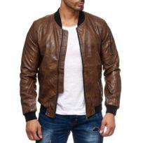 Selection Izi - Blouson simili cuir marron homme