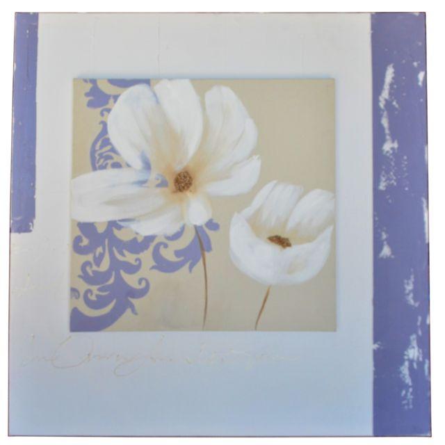 Atmosphera, Createur D'INTERIE Toile imprimée Pei fleur - L. 60 cm - Fleur blanche