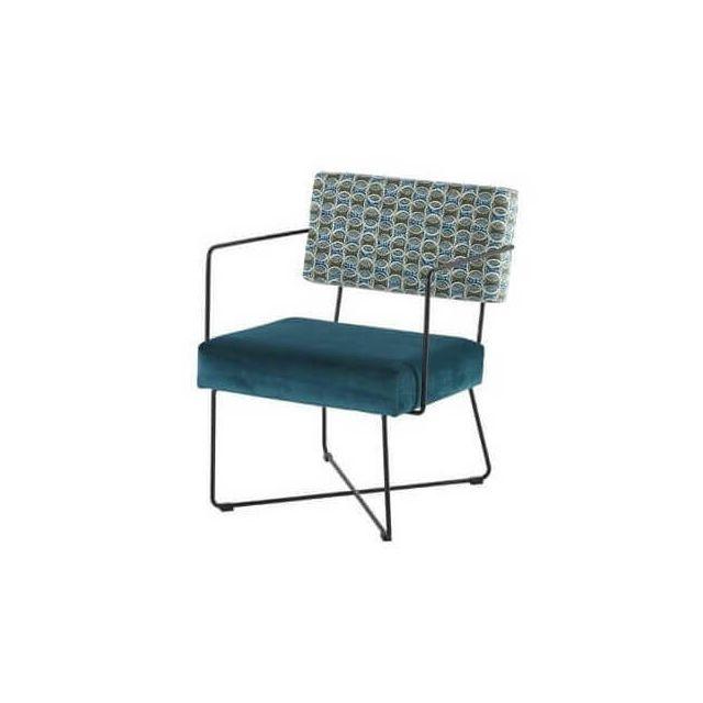 Mathi Design Fifties - Fauteuil rétro revisité en velours bleu