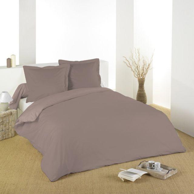 100pourcentcoton housse de couette 260x240cm gamme alicia taupe pas cher achat vente. Black Bedroom Furniture Sets. Home Design Ideas