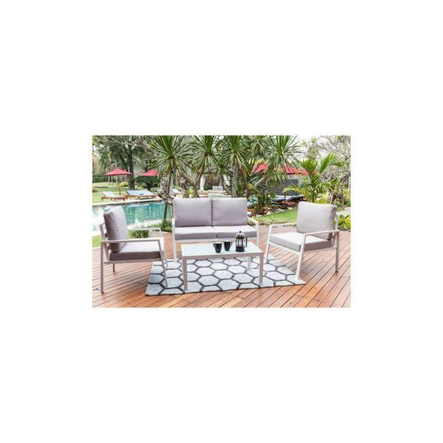 Salon de jardin 4 places avec banquette et fauteuil Tuvalo - Blanc