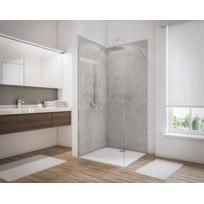 Lot de 2 panneaux muraux de douche + 3 profilés, 90 x 210cm, Decodesign couleur gris clair