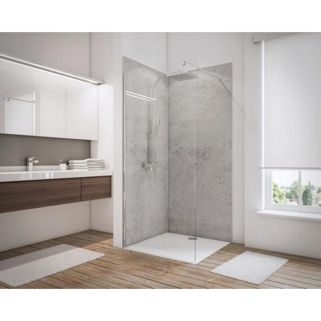 Lot de 2 panneaux muraux salle de bains + 3 profilés, 90 x 210 cm,  revêtement pour douche, Decodesign Couleur gris clair